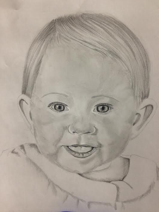 Drawing Portrait Of A Baby Smiling