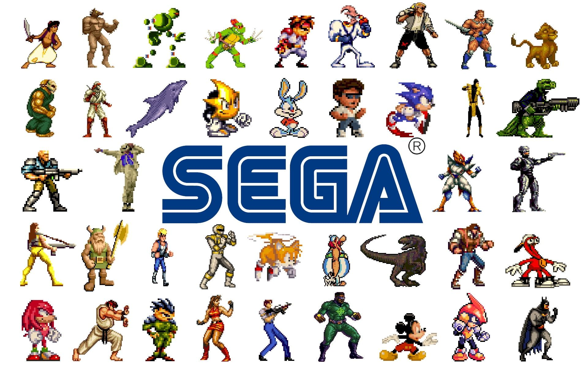Sega Characters Wallpaper Sega Sonic Tiny Toon Shinobi Aladin Tales Golden Axe 16 Bit 1080p Wallpaper Hdwall Retro Video Games Character Wallpaper Sega