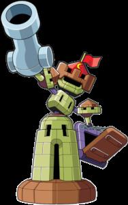 バロンキャッスル 西洋の城の如くチームを守護するメダロット 射撃ガードと格闘ガードが難攻不落の城壁を築き右腕の砲塔から放つミサイルで侵略者を阻む メダロット タイラント 難攻不落