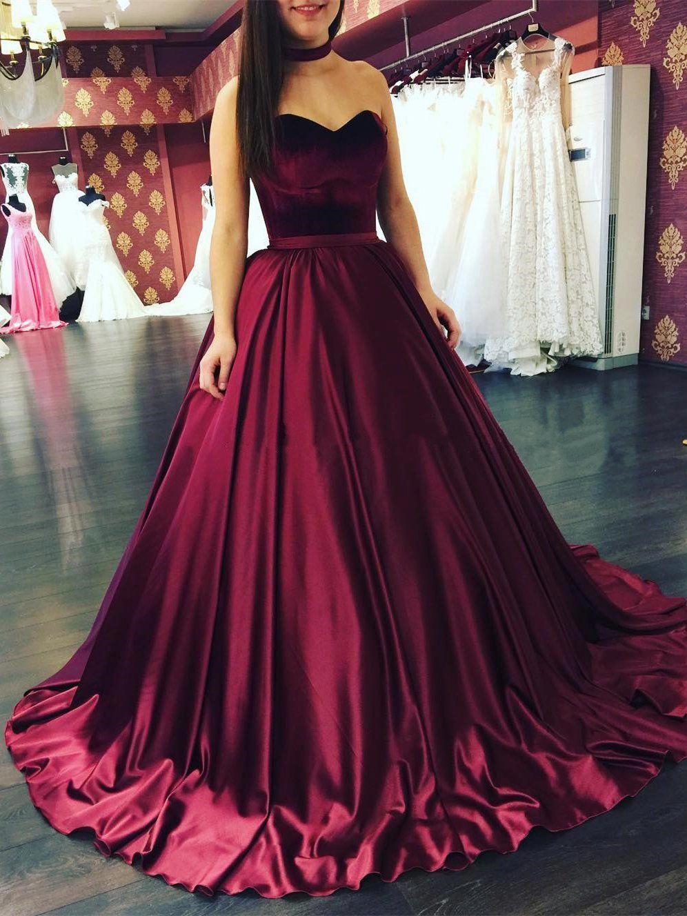 Elegante Prinzessin Rot Abendkleider Weit Gunstig Satin Abiballkleider Online In 2020 Abendkleid Abiball Kleider Lang Abendkleider Elegant