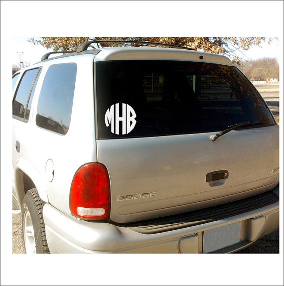 Personalize Your Car With This Cute And Preppy Circle Monogram - Monogram decal on car