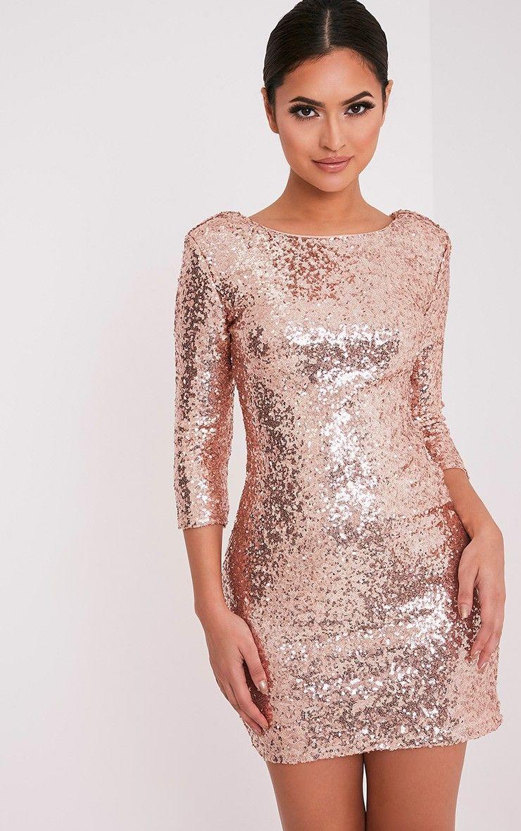 Eida Rose Gold Sequin Bodycon Dress Image 5