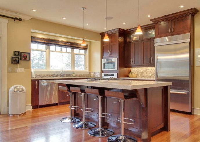 cherry color paint for kitchen cabinets. traditional dark wood