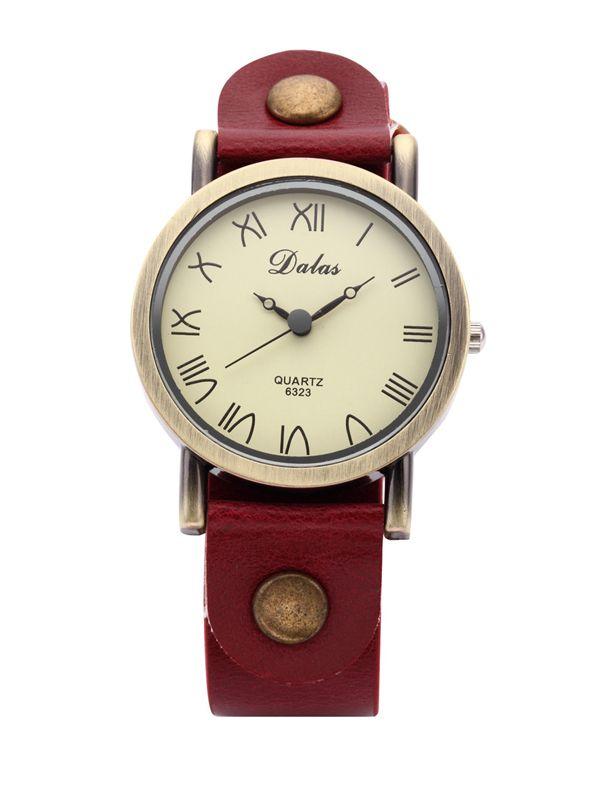 Red Leather Retro Bronze Case Woman Quartz Wrist Watch