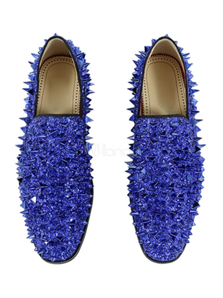 75323709b53 Men Blue Loafers Glitter Round Toe Rivets Slip On Shoes Spike Shoes -  Milanoo.com