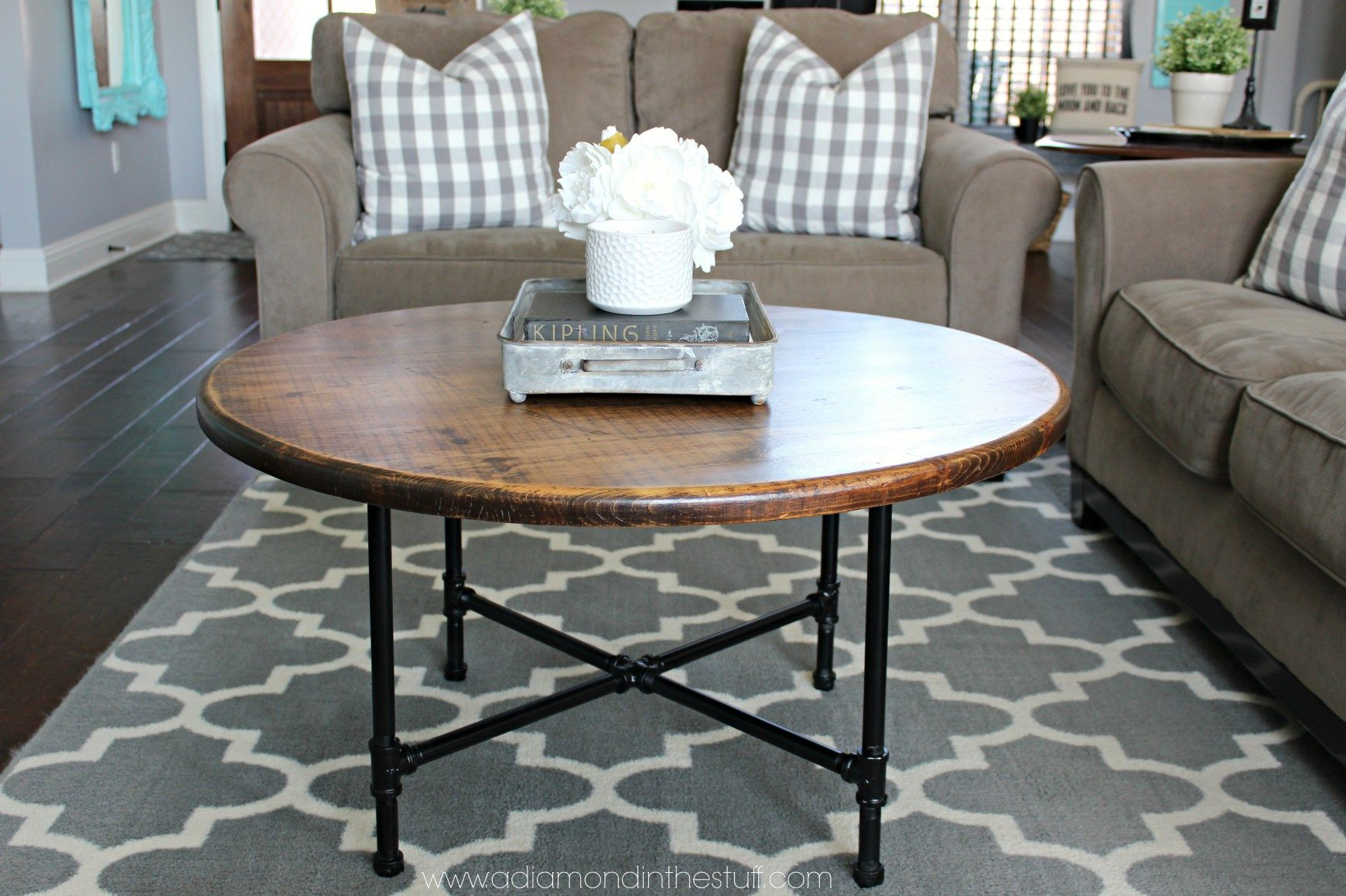 DIY Round Industrial Coffee Table Coffee table, Round
