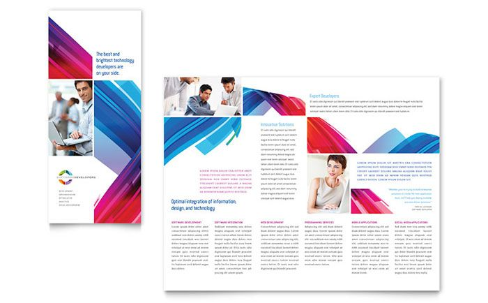 Software Solutions Tri Fold Brochure Template Design BROCHURE - software brochure