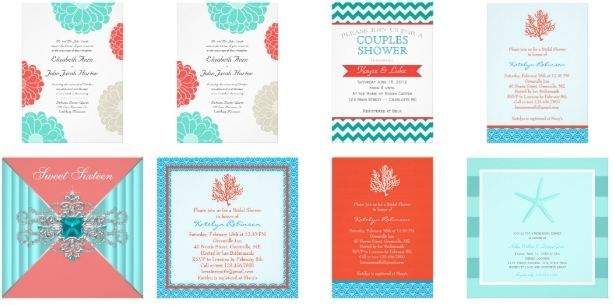 Coral and Turquoise Wedding Invitations Custom Wedding Invitations