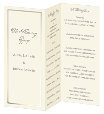 folded wedding program template mini bridal