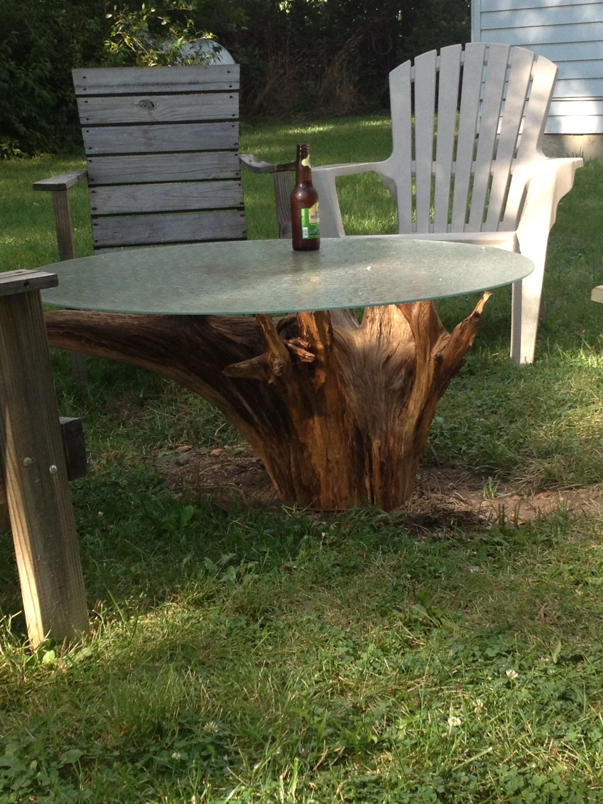 A cedar stump obtained from the family cemetery, power washed and sealed with tung oil.    The table top was obtained for free, and I even made scrap money on the aluminum base it originally came with.  Total cost - zero dollars