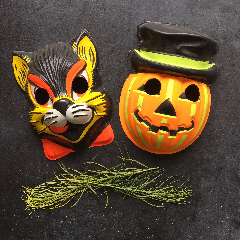 2 Vintage halloween masks~jack O lantern~black cat~child size ...