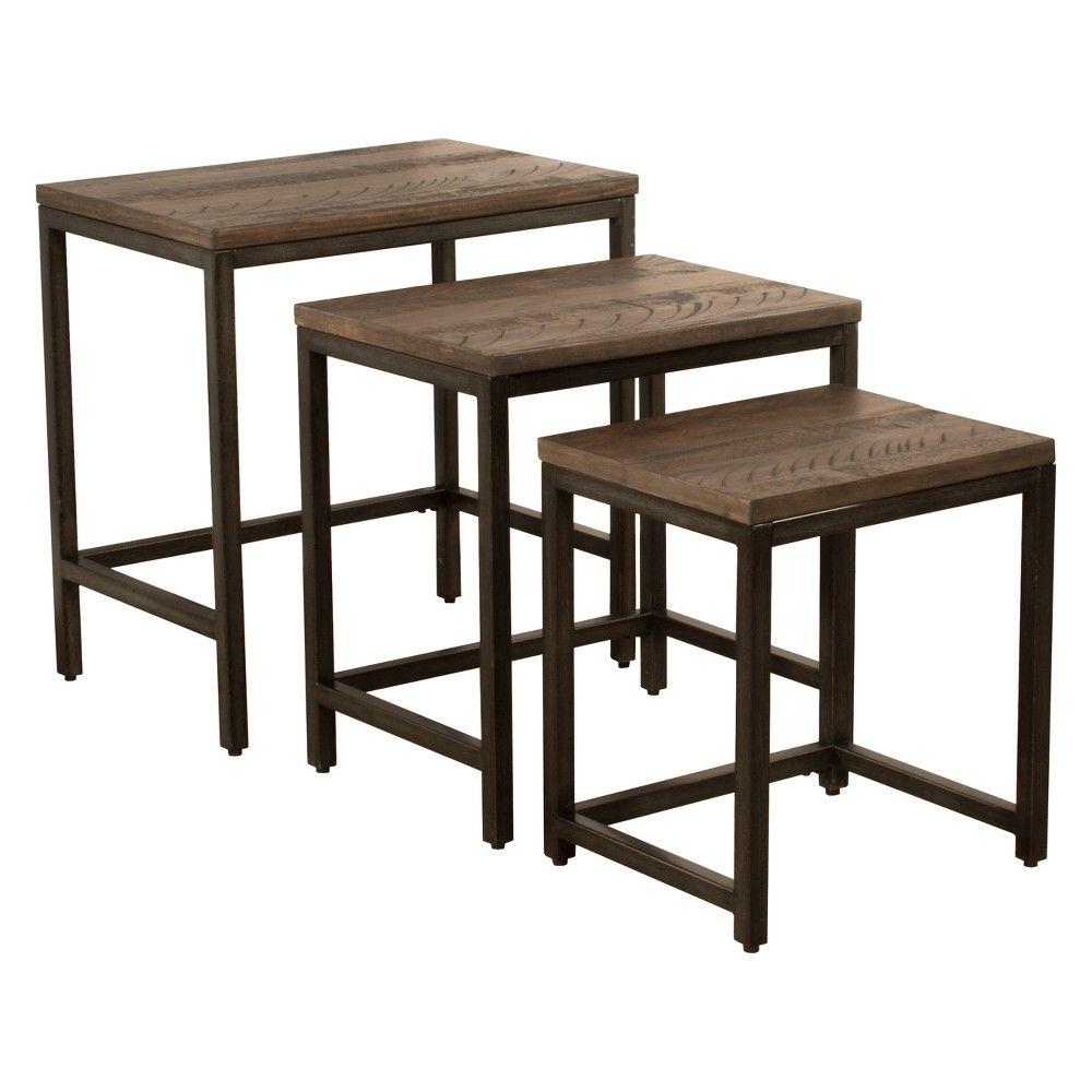 Castille nesting tables set of three metal textured black distressed walnut hillsdale furniture metal