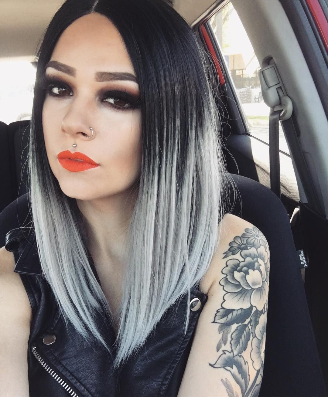 Evahair angled cut grey ombre color fashion bob synthetic wig
