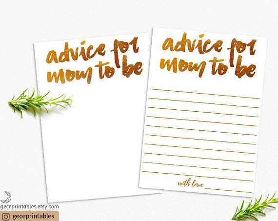 Baby Shower Advice Cards Advice For Mom To Be Baby Advice Diy