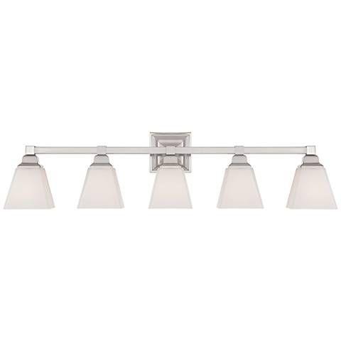 Mencino Satin Nickel 5 Light 35 1 4 Wide Bath Style 5y970