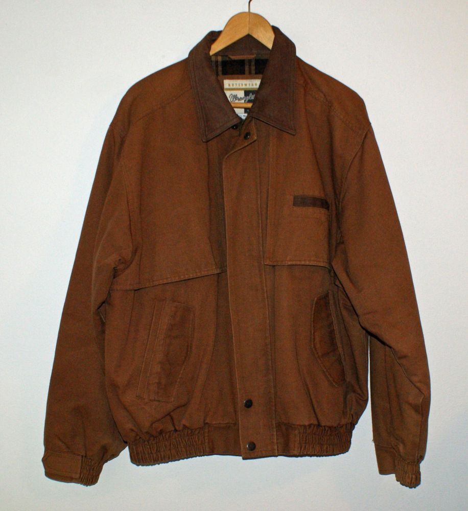 b70f7da88 Wrangler Jacket Brown Canvas Work Coat Mens Size XL Flannel Lined Zipper  #Wrangler #BasicJacket