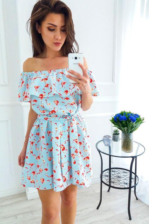 Blekitna Sukienka Z Falbanka Na Ramionach We Flamingi Summer Dresses Fashion Dresses