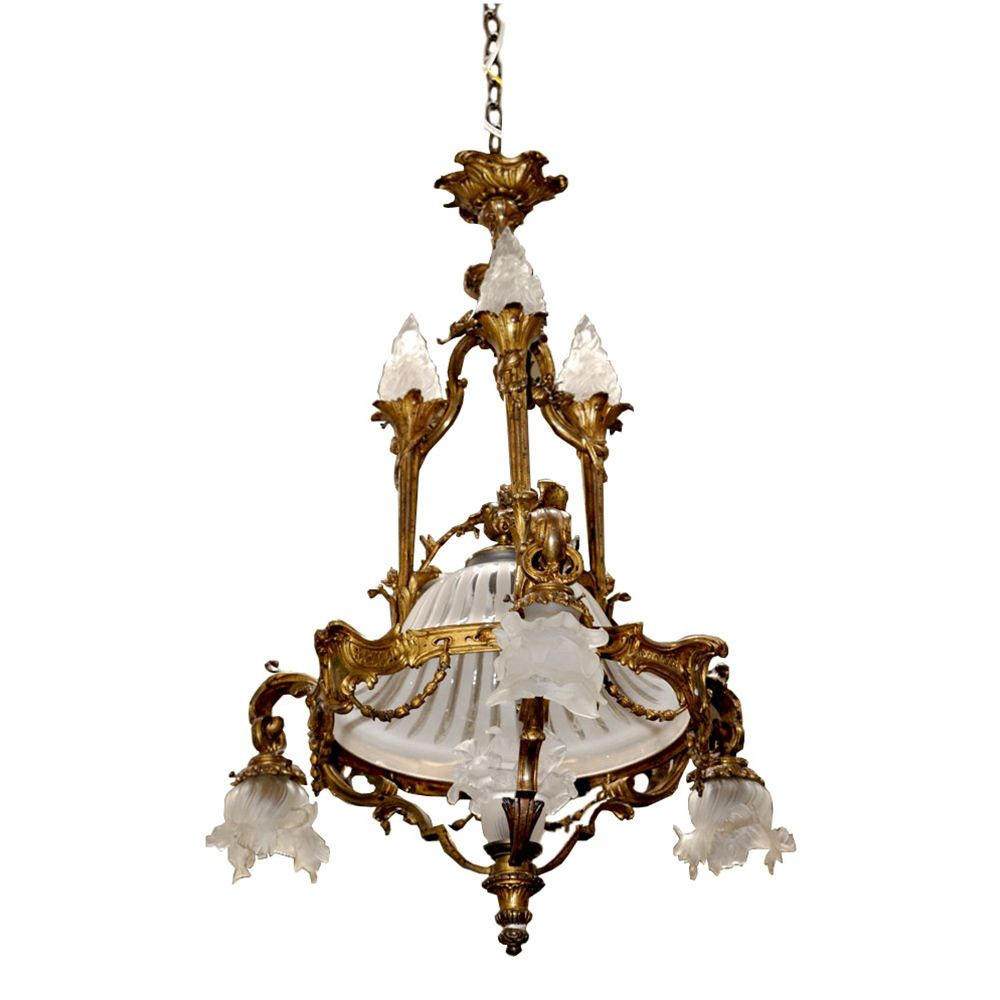 7016 French Bronze Art Nouveau Chandelier From Antiquariantraders On Ruby Lane