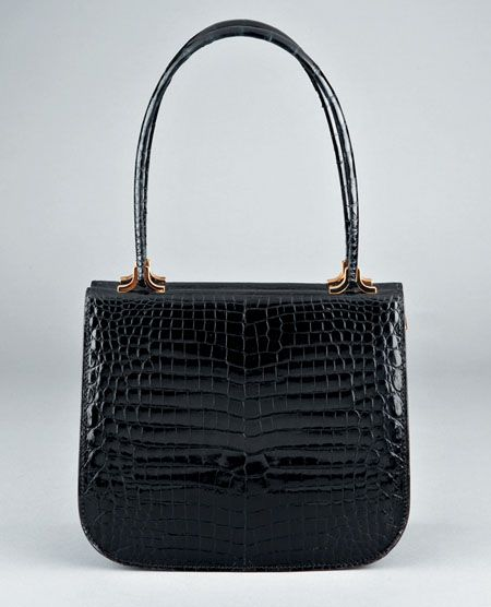Asprey Black Crocodile Handbag 1970