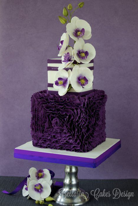 Birthday Cakes With Orchid Flowers Purple Orchid Mothers Day Wedding Cake Designs Cake Designs Beautiful Cakes