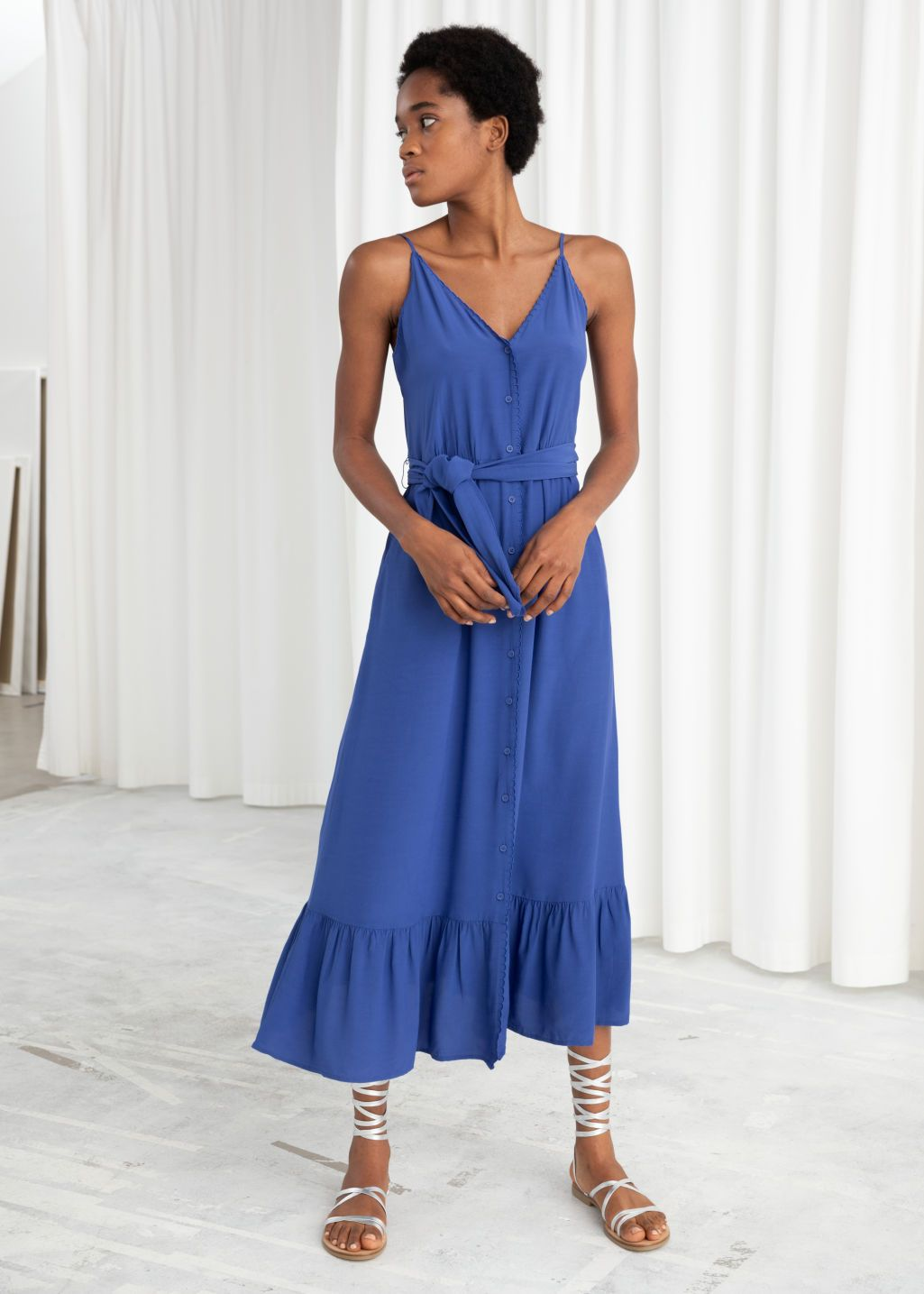 Belted Button Up Midi Dress Blue Midi Dresses Other Stories Dresses Midi Dress Cotton Wrap Dress [ 1435 x 1025 Pixel ]