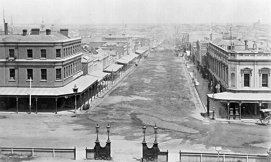 1800's Bourke St (from the 'Parliament House' site) looking West ...
