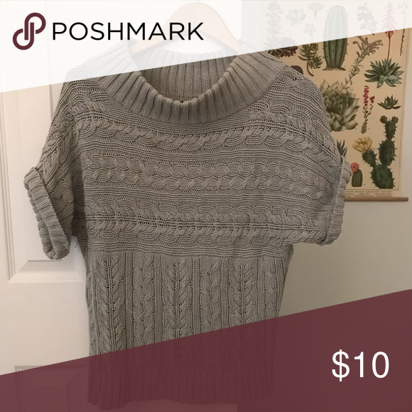 Express Short Sleeve Cable Knit Sweater Express Short Sleeve Cable Knit Sweater With Semi Cowl Neck Gray Perfec Knitted Sweaters Cable Knit Sweaters Sweaters