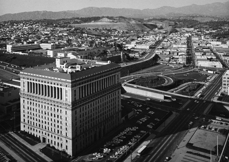 1950 1969 View From Top Of City Hall Looking Northwest Toward The County Hall Of Justice And The Area Beyon City Hall Downtown Los Angeles Los Angeles County