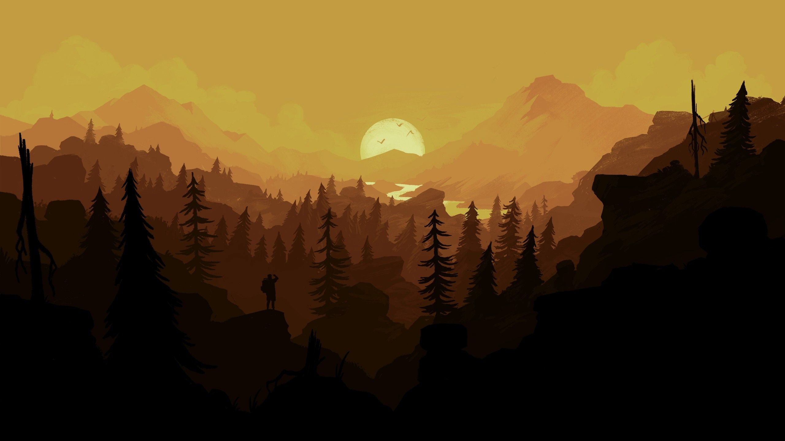 General 2560x1440 Firewatch hiking sunset forest