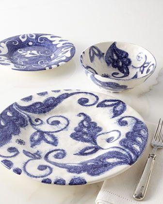 Indigo Swirl Dinnerware Service by Caff Ceramiche at Horchow. Pricey but gorgeous! & 12-Piece \