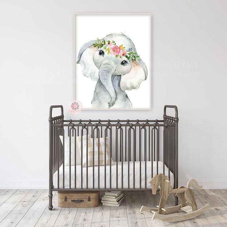 Boho Elephant Wall Art Print Nursery Baby Girl Room Floral Bohemian Watercolor Printable Decor images