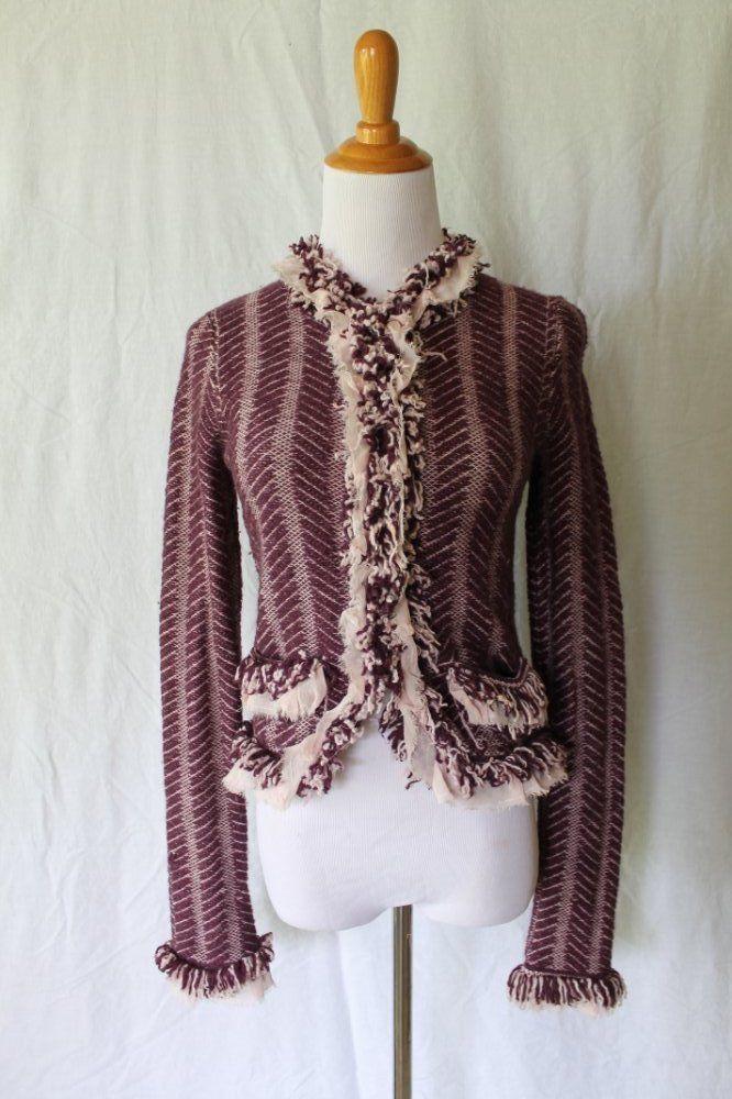 HWR Anthropologie Plum Wool Boucle Friged cardigan Jacket French designer dupe S #HWR #Cardigan