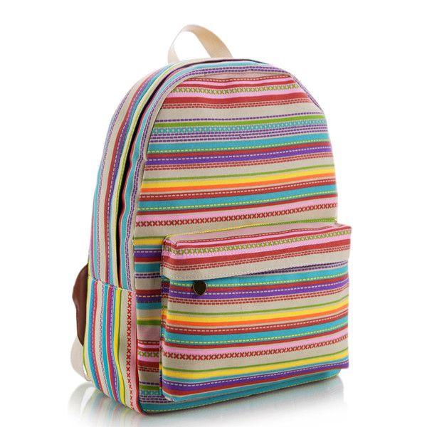 Multicolor Stripes Canvas Backpack  12d940e1d04bc