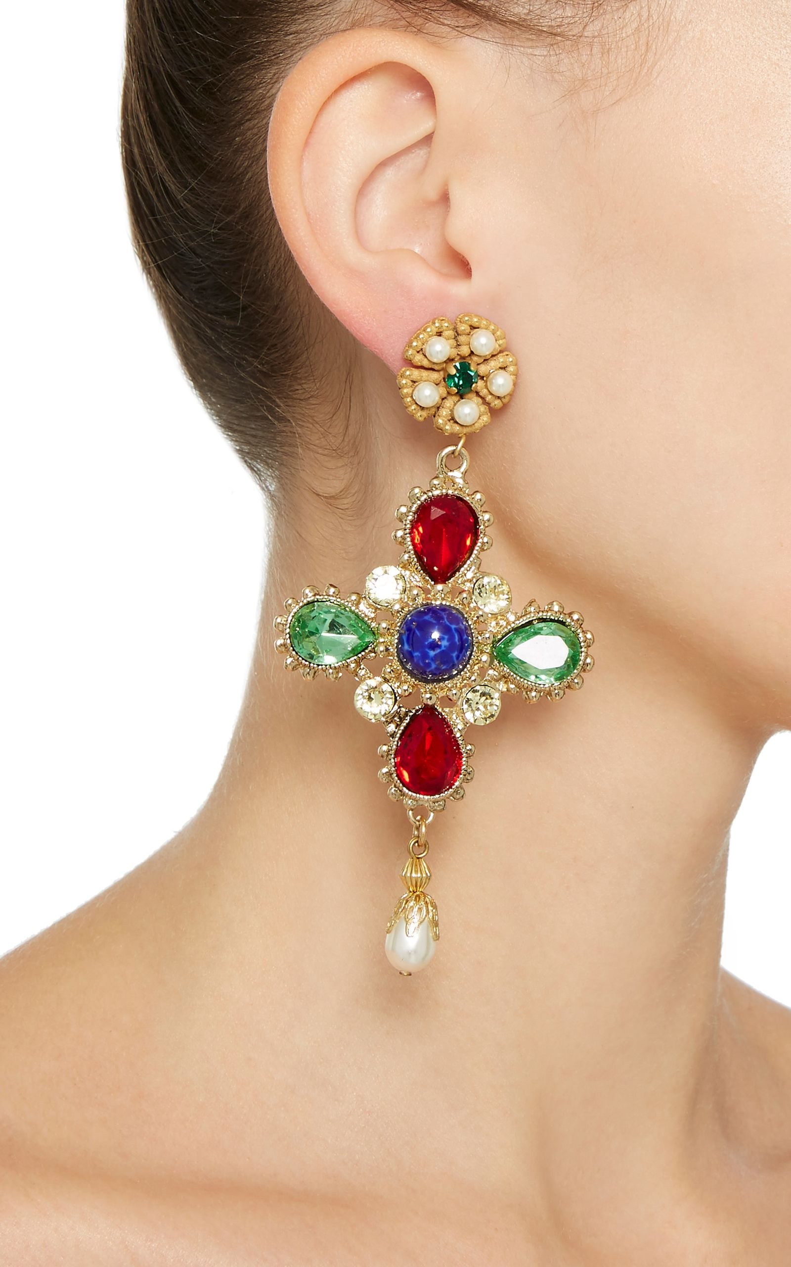 preorder sapphire moda multicolor creole pin by operandi gemstone gioia for on earclips earrings