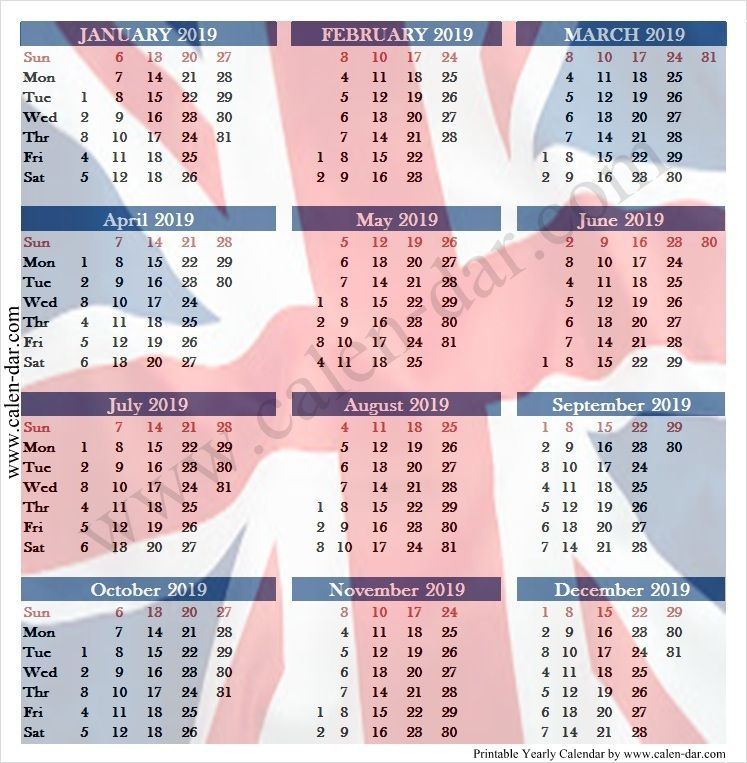 2019 Calendar With Week Numbers Uk Printable Calendar With Week