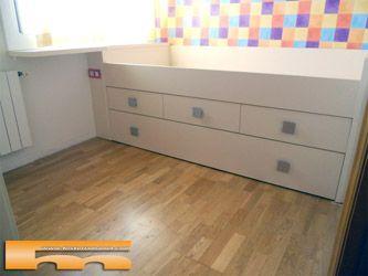 Cama nido con cajones y supletorio a medida con escritorio for Muebles juveniles a medida barcelona