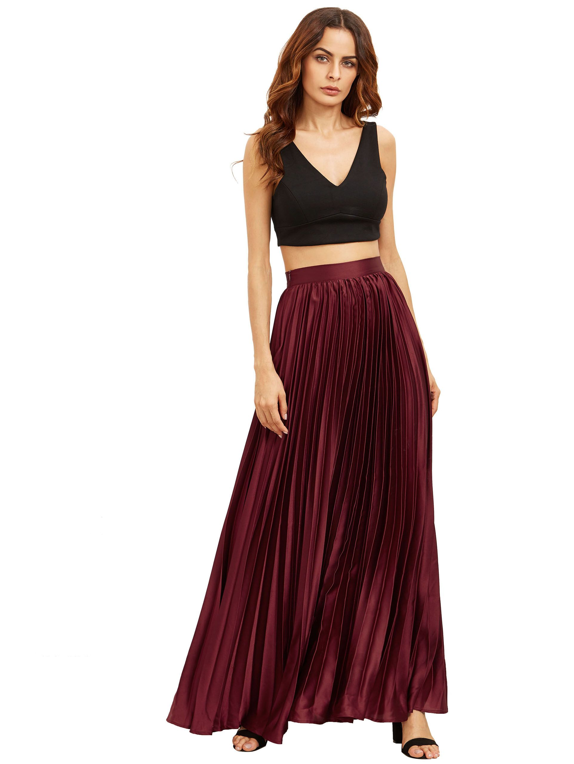 b06b3e90a7d7ee Shop Burgundy Zipper Side Pleated Flare Maxi Skirt online. SheIn offers  Burgundy Zipper Side Pleated Flare Maxi Skirt & more to fit your  fashionable needs.