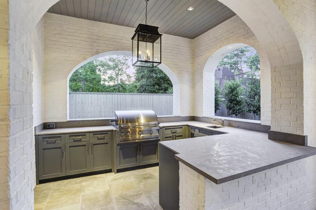 Hanging Light In Grilling Room Summer Kitchen Outdoor Kitchen Patio