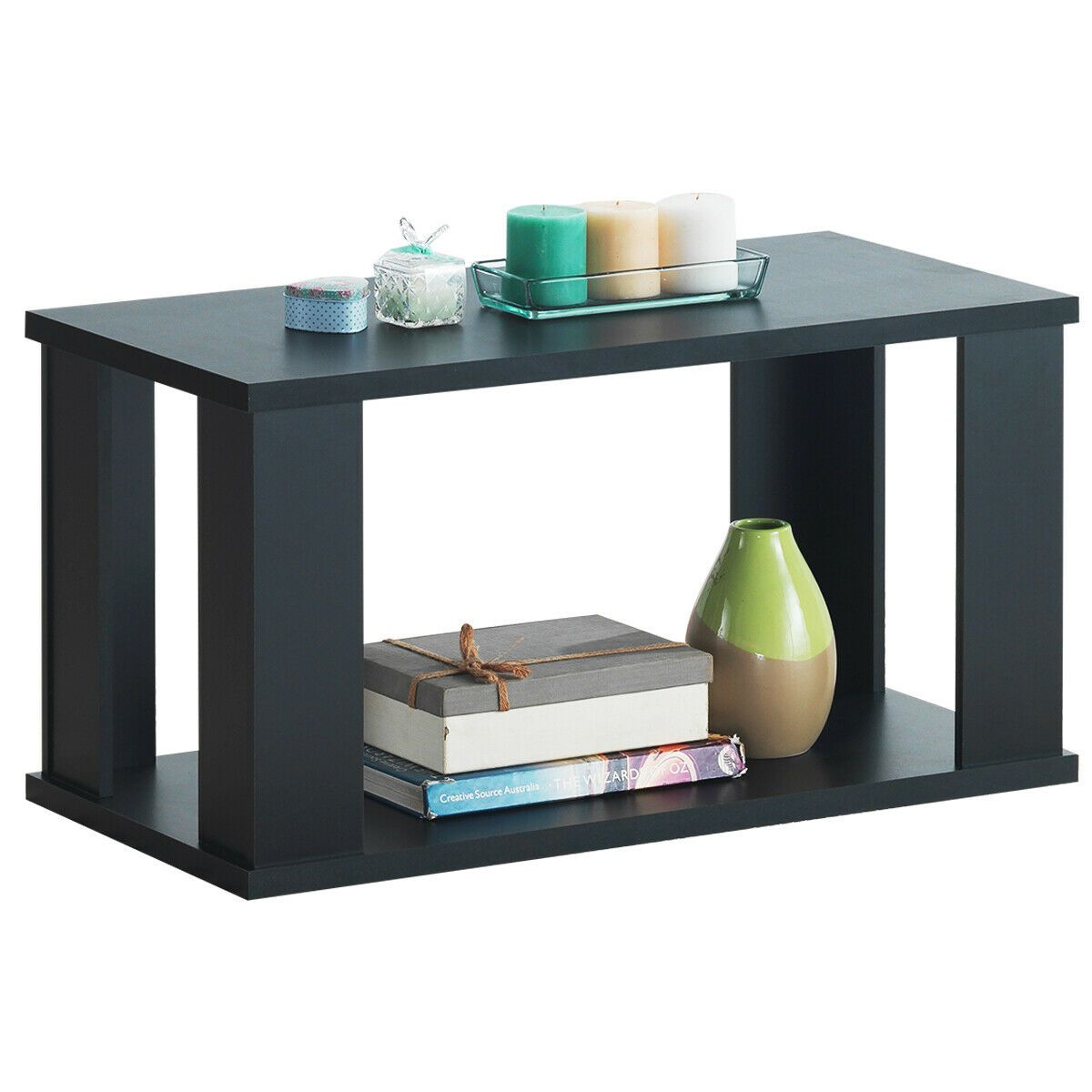 2 Tier Rustic Vintage Coffee Table With Storage Shelf In 2020
