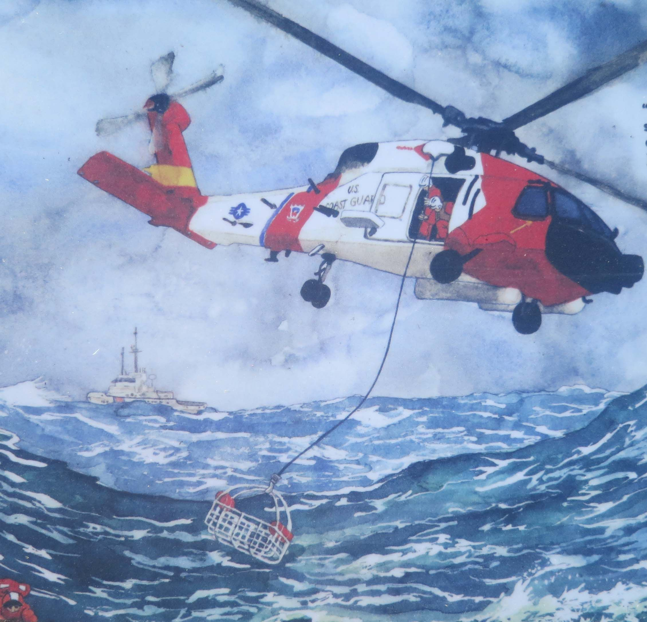 Artistic rendition of an h60 rescue effort on an