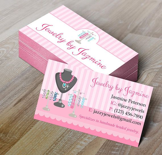 Jewelry Making Business Card Editable Template - Microsoft Word