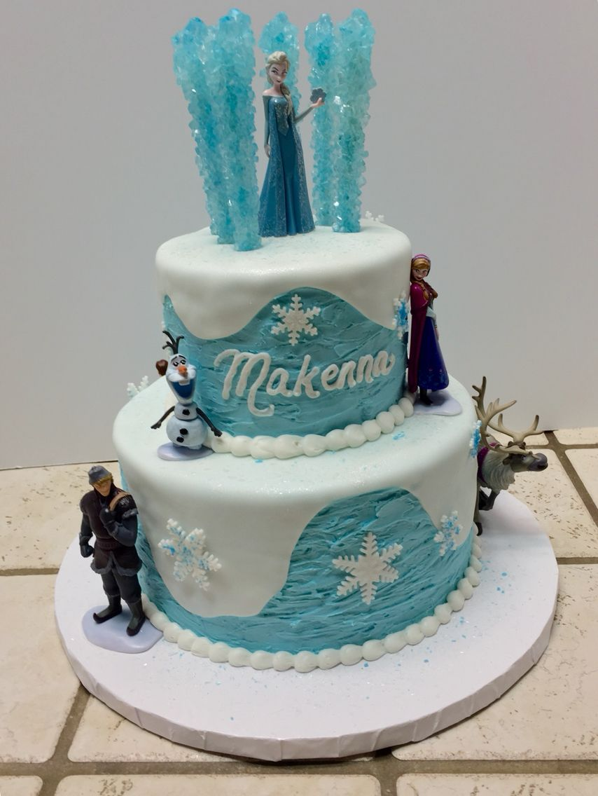 Tiered Frozen cake with all the characters :)