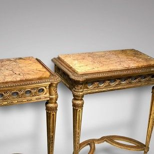 Pair Of Giltwood Tables Decorative Collective Tables