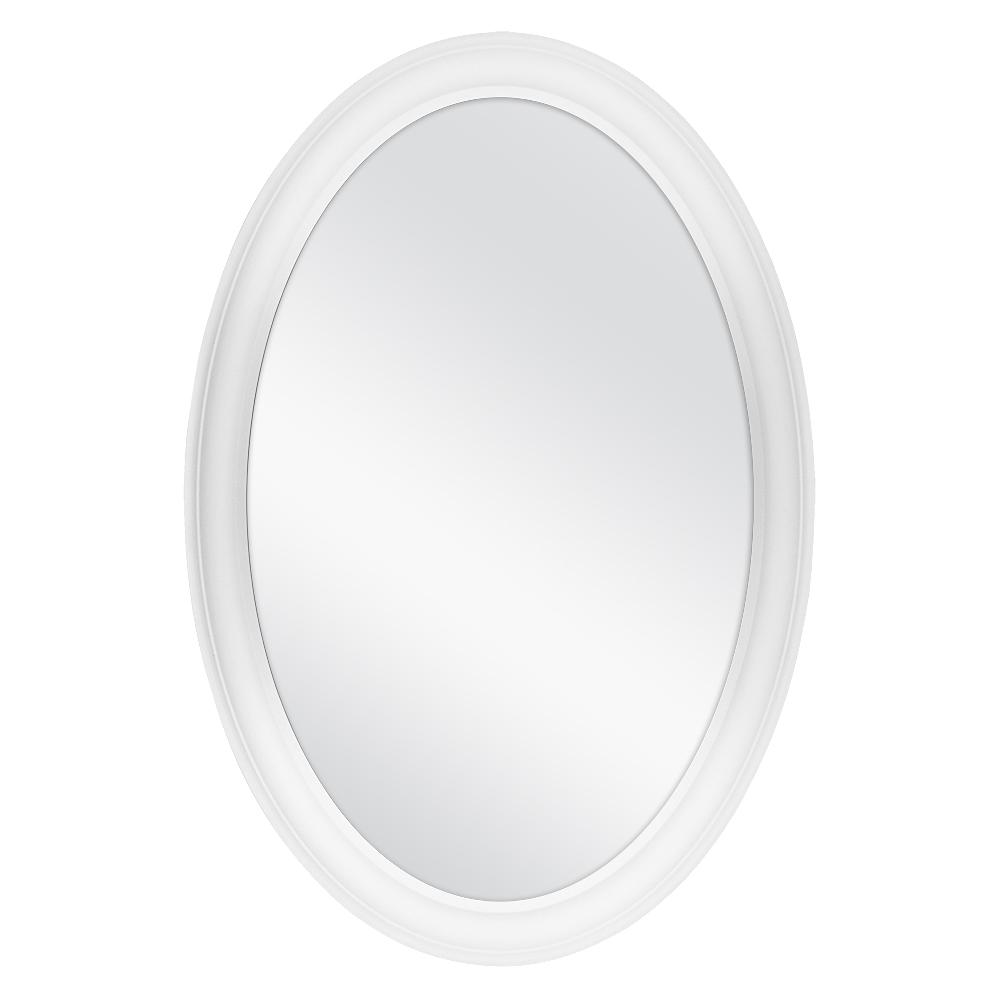 Home Decorators Collection 21 In W X 31 In H Framed Oval Anti Fog Bathroom Vanity Mirror In White Finish 81167 The Home Depot Home Decorators Collection How To Clean Mirrors Framed Mirror Wall