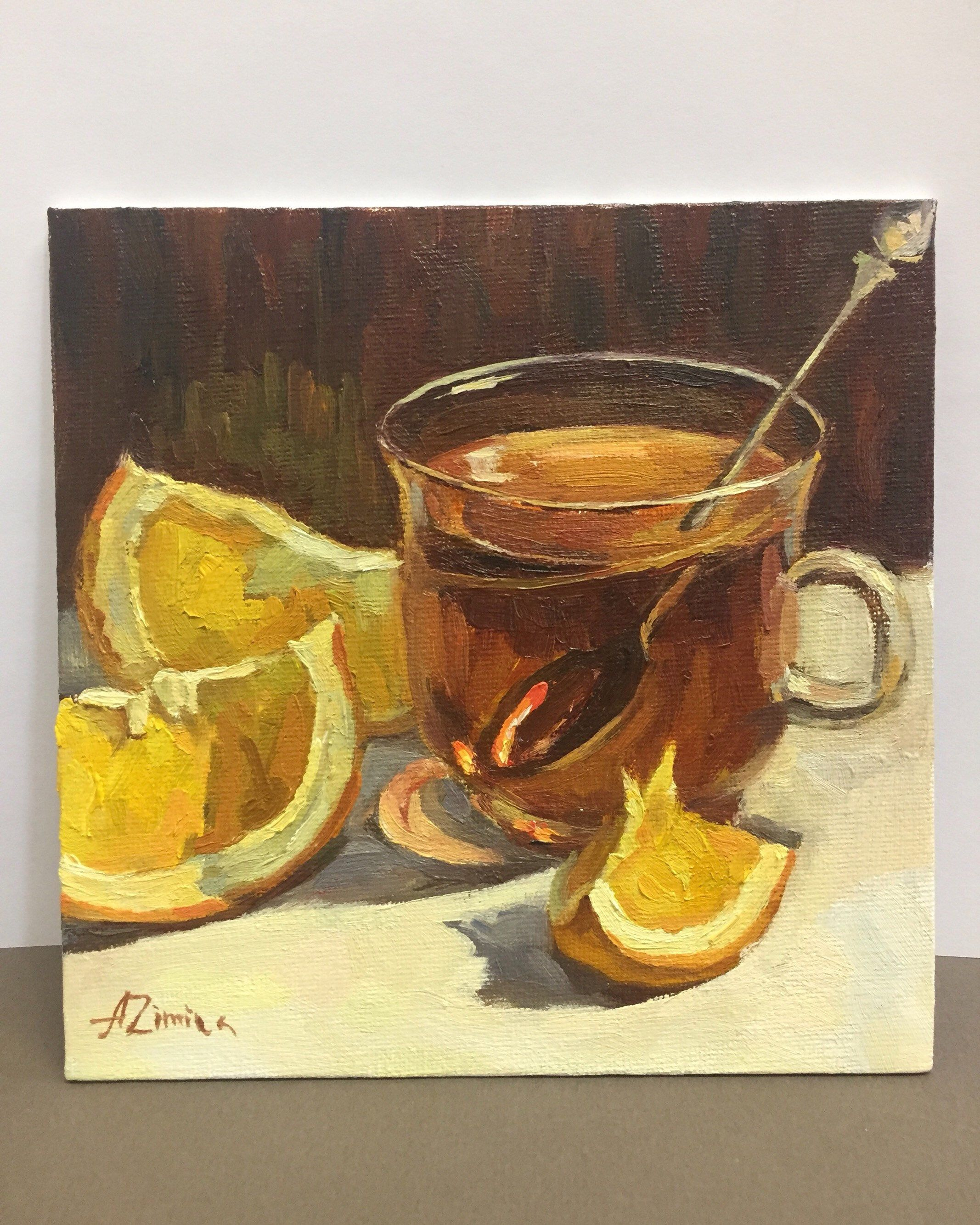 Oil painting still life Glass cup of black tea with sliced oranges by Anastasia Zimina