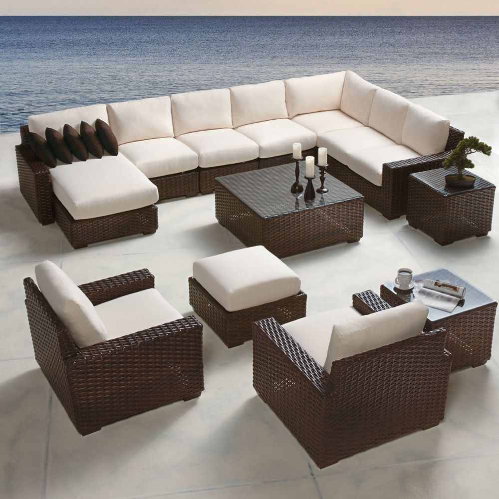 Dark Brown Rattan Peel contemporary wicker patio sectional. Available with 250+ different cushion fabrics.