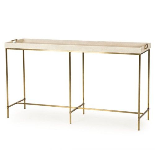Tray Top Console Table Wrapped In A A Faux Shagreen In A Ivory