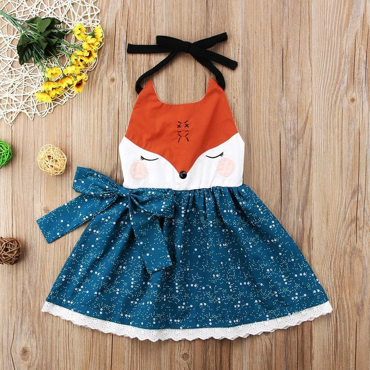Mutitrust Cute Fox Cartoon Sleeveless Summer Dress