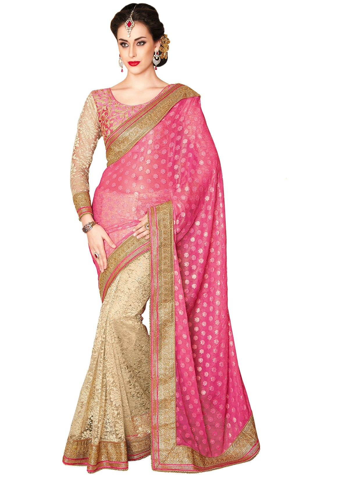 Pink embroidered georgette with net saree with blouse | Pinterest