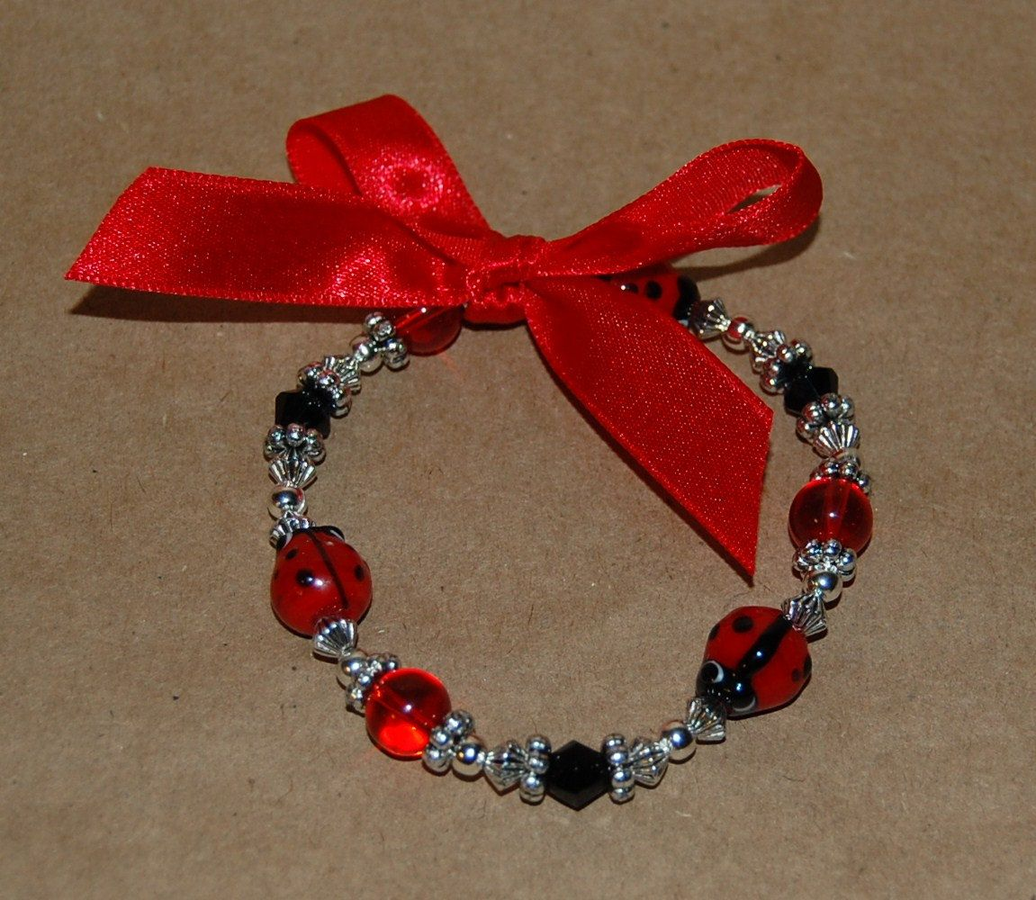 Ladybug Beaded Bracelet With Red Bow Party Favor Costume